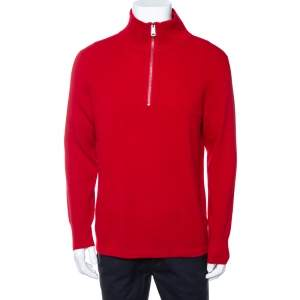 Burberry Red Cashmere Hendon Quarter Zip Sweater L