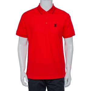 Burberry Red Honeycomb Knit Polo T-Shirt L