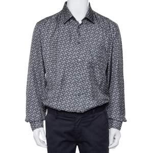 Burberry Grey Logo Monogram Printed Silk Button Front Shirt XL