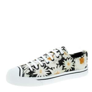 Burberry Black Floral Print Canvas Kingly Low Top Sneakers Size 43.5