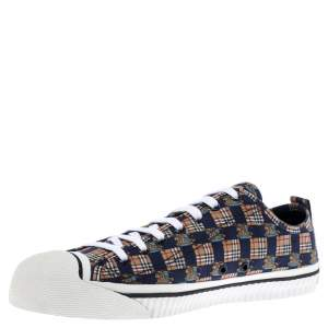 Burberry Multicolor Printed Fabric Kingly Low Top Sneakers Size 45.5