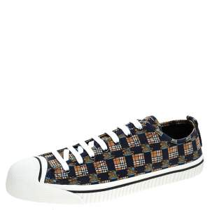 Burberry Blue/Brown Printed Canvas Kingly Low Top Sneakers Size 46