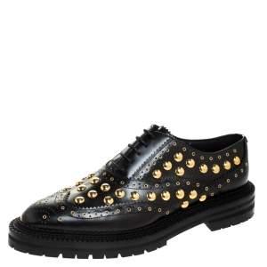 Burberry Black Leather Deardown Studded Derby Oxfords Size 41