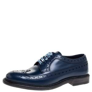 Burberry Blue Brogues Leather Alexton Lace Up Derby Size 40