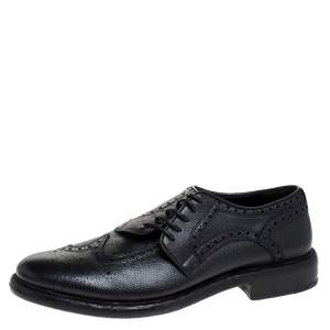 Burberry Black Brogue Leather Rayford Derby Size 44