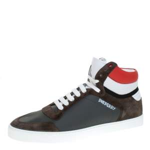 Burberry Grey/Red Leather and Suede Reeth High Top Sneakers Size 45.5
