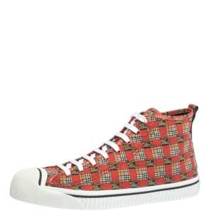 Burberry Red Canvas Kingly Print High Top Sneakers Size 43