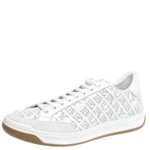 Burberry White Perforated Leather Timsbury Sneakers Size 46