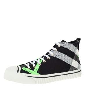 Burberry Black/Fluorescent Green Check Canvas Mid-Top Sneakers Size 41.5