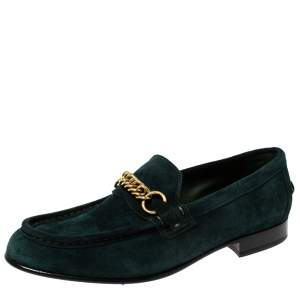 Burberry Green Suede Solway Chain Detail Slip On Loafers Size 42