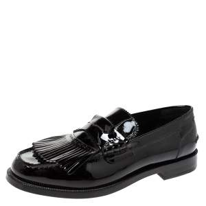 Burberry Black Patent Leather Bedmoore Fringe Detail Penny Loafers Size 44