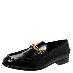 Burberry Black Leather Solway Chain Detail Slip On Loafers Size 44
