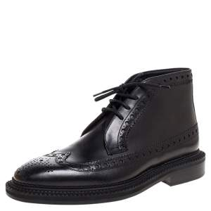 Burberry Black Brogue Leather Wilmont Ankle Boots Size 42