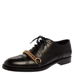 Burberry Black Brogue Leather Chain Link Lace Up Oxford Size 44