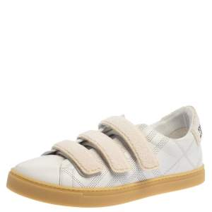 Burberry White Perforated Leather Bert Low Top Sneakers Size 43.5