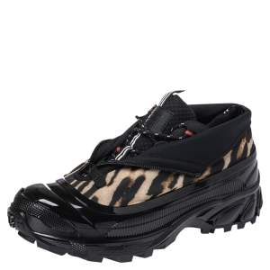 Burberry Black Mesh And Leopard Print Satin Arthur Low Top Sneakers Size 43