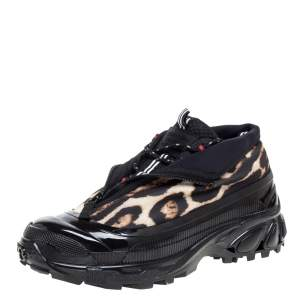 Burberry Black Mesh And Leopard Print Satin Arthur Low Top Sneakers Size 42.5