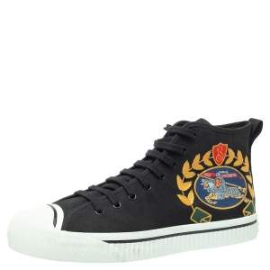 Burberry Black Canvas Kingly Big C High Top Sneakers Size 45