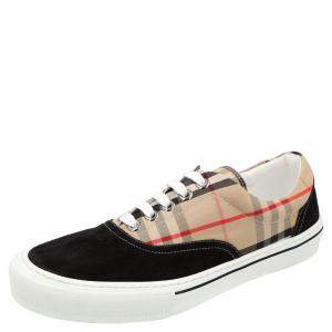 Burberry Check Canvas and Leather Wilson Sneakers Size EU 45