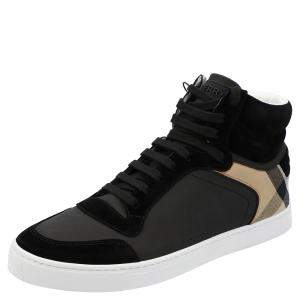Burberry Black House-check Leather and Suede Reeth Trainers Size EU 43.5