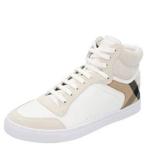 Burberry White House-check Leather and Suede Reeth Trainers Size EU 43.5