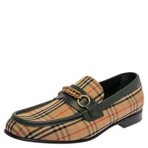 Burberry Multicolor Nova Check Canvas And Leather Moorley Runway Loafers Size 45