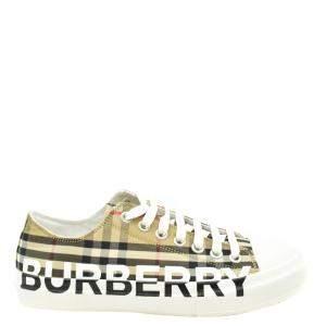 Burberry Beige Logo Print Check Cotton Sneakers Size EU 41