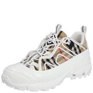 Burberry White/Multicolor Check Arthur Sneakers Size EU 44