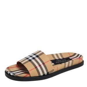 Burberry Multicolor Vintage Check Fabric Ashmore Flat Slides Size 42