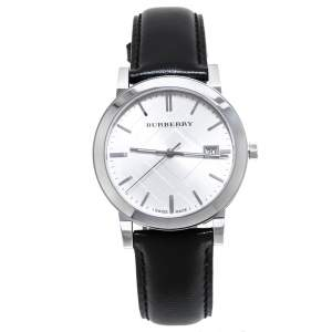 Burberry Silver Stainless Steel Leather The City BU9008 Men's Wristwatch 38 mm