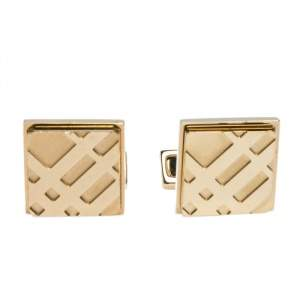 Burberry Check Engraved Gold Tone Square Cufflinks