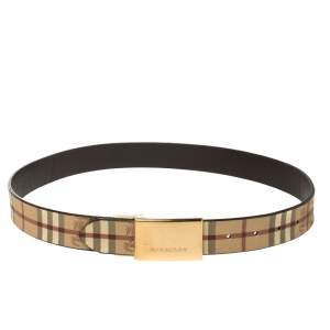 Burberry Beige Haymarket Check PVC Logo Plaque Belt 80CM