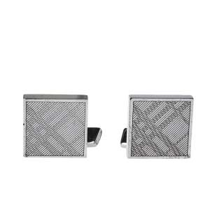 Burberry Silver Tone House Check Square Cufflinks