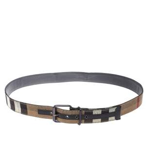Burberry Beige/Black House Check Canvas and Leather Belt 125 CM