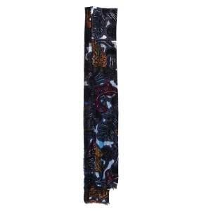 Burberry Navy Blue Beasts Print & Check Linen Scarf