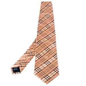 Burberry Orange Novacheck Silk Tie