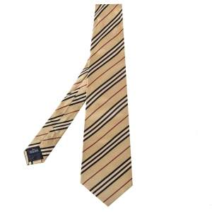 Burberry Vintage Diagonal Striped Satin Silk Traditional Tie