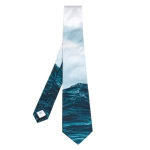 Burberry Deep Teal Sea Print Silk Tie