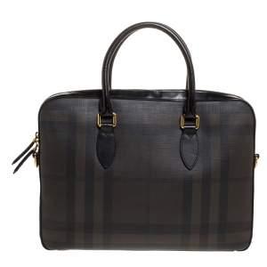 Burberry Dark Brown/Black Smoke Check PVC and Leather Laptop Bag
