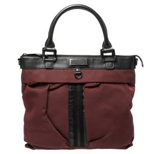 Burberry Burgundy/Black Nylon and Leather Tote