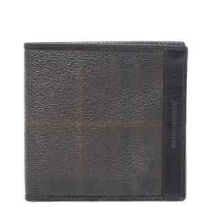 Burberry Dark Brown/Black Haymarket Check Coated Canvas Bifold Wallet