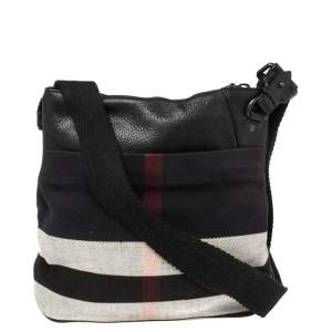 Burberry Multicolor Check Canvas and Leather Messenger Bag