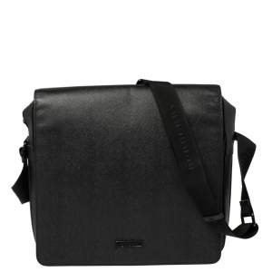 Burberry Black Leather Flap Messenger Bag