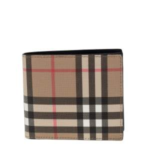 Burberry Beige House Check Coated Canvas Bifold Wallet