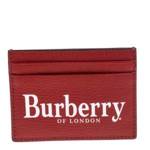 Burberry Red Leather Logo Print Card Case