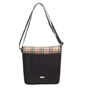 Burberry Black/Beige Vintage Check Nylon Messenger Bag