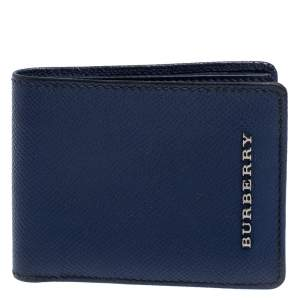 Burberry Navy Blue Leather Logo Bifold Compact Wallet