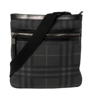 Burberry Black London Check Coated Canvas and Leather Slim Messenger Bag