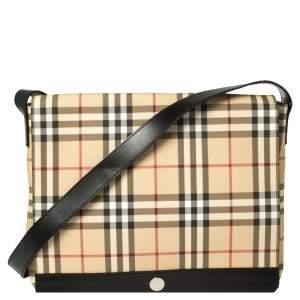 Burberry Beige/Black Nova Check Coated Canvas and Leather Messenger Bag
