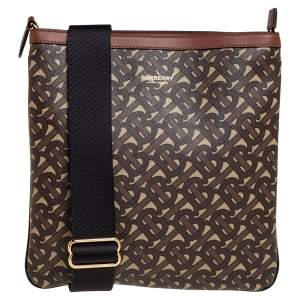 Burberry Brown TB Monogram Coated Canvas and Leather Trim Messenger Bag